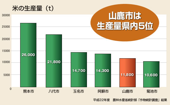 米の生産量(t)